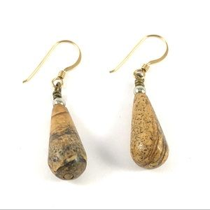 Stunning Gold Dangle Jasper Gemstone Earrings
